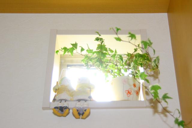 小窓に観葉植物